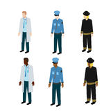 Different types of uniform. Medical, police and fire uniform for different people Royalty Free Stock Photo