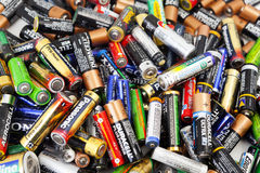 Different types of used batteries ready for recycling Royalty Free Stock Photography