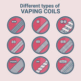 Different types of vaping coils. Flat icons set. Stock Image