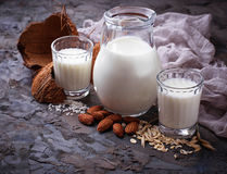 Different types of vegan lactose-free milk. Selective focus Royalty Free Stock Photo