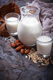 Different types of vegan lactose-free milk Royalty Free Stock Photos