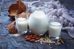 Different types of vegan lactose-free milk. Selective focus Stock Photo