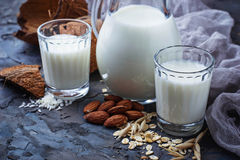 Different types of vegan lactose-free milk. Selective focus Stock Images