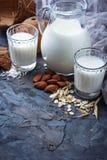 Different types of vegan lactose-free milk. Selective focus Royalty Free Stock Photos