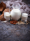 Different types of vegan lactose-free milk. Selective focus Royalty Free Stock Images