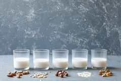 Different types of vegan non-dairy milk in glasses on wooden background with copy space.  royalty free stock photo