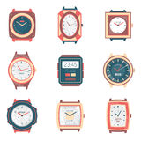Different Types Watches Flat Icons Collection Royalty Free Stock Photography