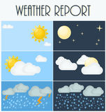 Different types of weather. Day and night. Flat vector illustration. Symbols and icons of weather topic. Royalty Free Stock Photo