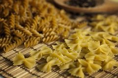 Different pasta types on the table. Italian, menu. Closeup stock image