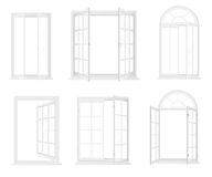 Different types of windows. Realistic decorative windows icons set. Royalty Free Stock Photo