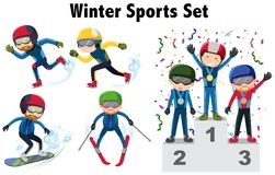 Different types of winter sports. Illustration Royalty Free Stock Photos