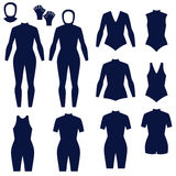 Different types of women's suits for swimming and diving Stock Photos