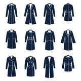 Different types of women coats Stock Images
