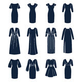 Different types of women dresses with sleeves Royalty Free Stock Photo