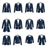 Different types of women jackets Stock Images