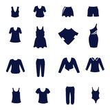 Different types of women's clothing as flat icons Royalty Free Stock Photo