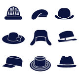 Different types of women's hats Royalty Free Stock Images