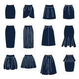 Different types of women skirts Stock Image
