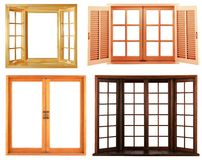Different types of wooden window frame isolated Royalty Free Stock Photo