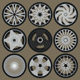 Different tyres and wheel rims Royalty Free Stock Photos