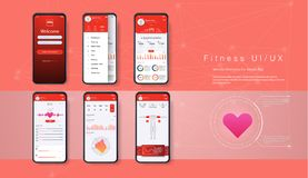Different UI, UX, GUI Screens Fitness App Royalty Free Stock Photography