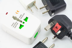 Different universal adapters Travel adapters Stock Photography