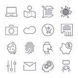 Different universal icons. Thin line and perfect  for sites, apps, programs: piggy, social, mail, fingerprint, camera, cloud. Different universal icons. Thin Stock Photo