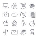 Different universal icons. Thin line and perfect vector for sites, apps, programs royalty free illustration