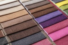 Different upholstery fabric samples, closeup royalty free stock images