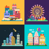 Different urban landscapes. Colored houses by the sea, amusement park, night skyscrapers, historic city center. Vector flat illustrations Stock Photography