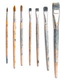 Different used art brushes  on white background Stock Photography