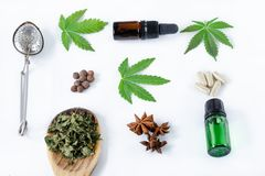 Different uses for cannabis. Flat lay royalty free stock image