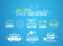 Different vacation and trip labels Stock Image