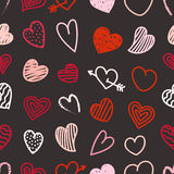 Different Valentines day hand-drawn hearts Stock Photography