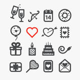Different Valentines Day icons. Set. Design elements Royalty Free Stock Photography