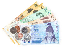 Different value South korean currency bill and coins, save your money concept. Different value South korean currency bills and coins, save your money concept Royalty Free Stock Images
