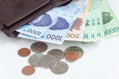 Different value South korean currency near a wallet , save your money concept. Different value South korean currency near the wallet , save your money concept stock photo