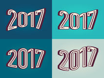 Different variant 2017 number in 3D text effect style. Vector illustration element for your retro vintage design Stock Photography