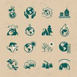 Set of vector icons on the theme of ecology, global warming and ecology problems of our planet. stock illustration
