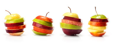 Different varieties of apples cut intp slices Stock Image