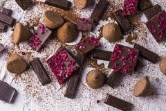 Different varieties of chocolate stock photos