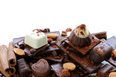 Different varieties of chocolate and sweets Royalty Free Stock Photo