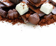 Different varieties of chocolate and sweets Stock Images