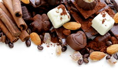 Different varieties of chocolate and sweets Stock Photos