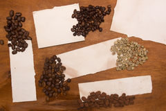 Different varieties of coffee beans Royalty Free Stock Photography