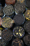 Different varieties elite green and black tea. royalty free stock images