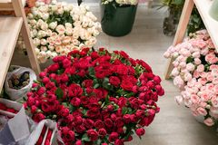 Different varieties. Fresh spring flowers in refrigerator for flowers in flower shop. Bouquets on shelf, florist. Business stock photo