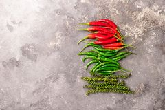 Different varieties of hot pepper on a gray textured background. East Asian food concept. Flat layout. stock photos