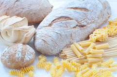 Different varieties of Italian pasta and homemade bread Stock Photo