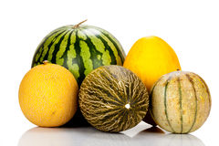 Different varieties of melons Stock Photos